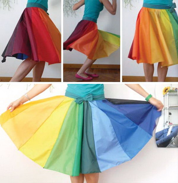 Umbrellas converted into colorful clothes.