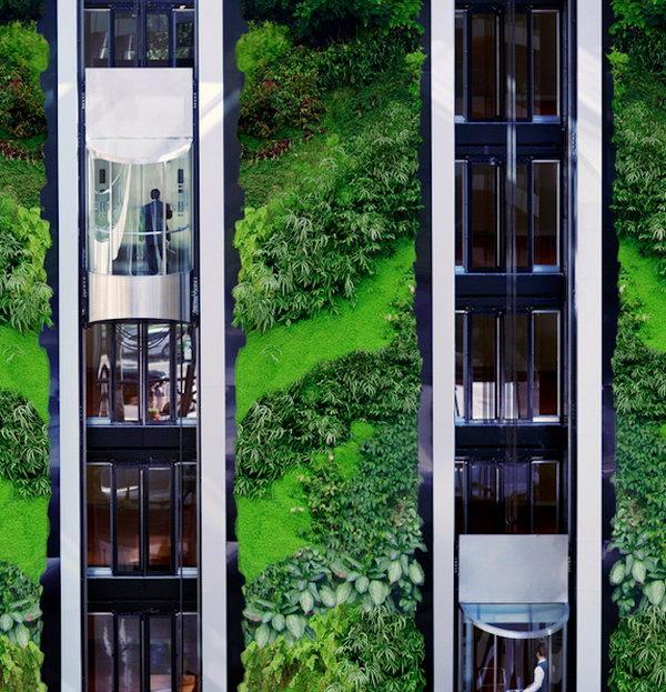 Tăng dần khách sạn làm vườn.  Nó cho phép thực vật mở rộng lên trên thay vì phát triển dọc theo bề mặt của khu vườn.  Không chiếm nhiều không gian và trông rất đẹp cùng một lúc.