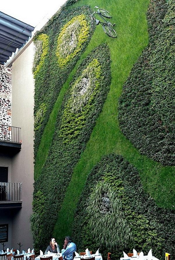 Trọng lực bất chấp con đường xe đạp.  Nó cho phép thực vật mở rộng lên trên thay vì phát triển dọc theo bề mặt của khu vườn.  Không chiếm nhiều không gian và trông rất đẹp cùng một lúc.