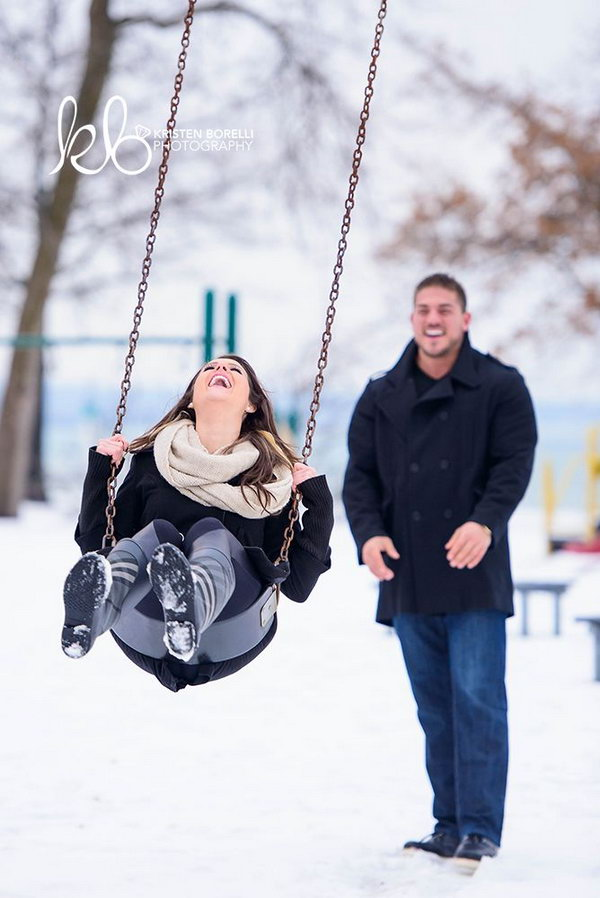 Choose winter engagement photos to capture the winter wonderland that awaits them outdoors. It is really romantic getting warm and cozy with your loved one.