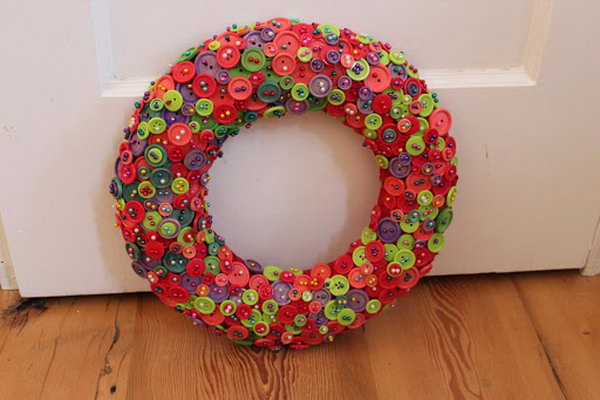 Awesome Button Wreath.