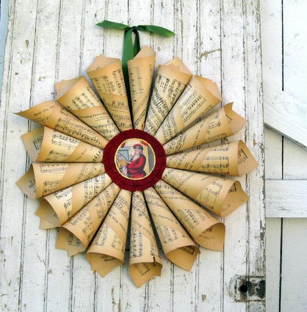 Vintage paper cone wreath.