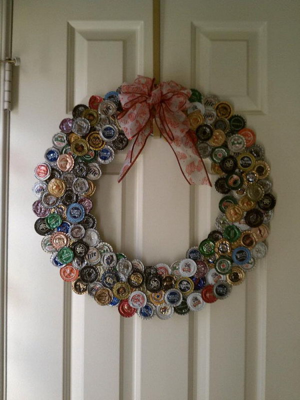 Bottle Cap Wreath.