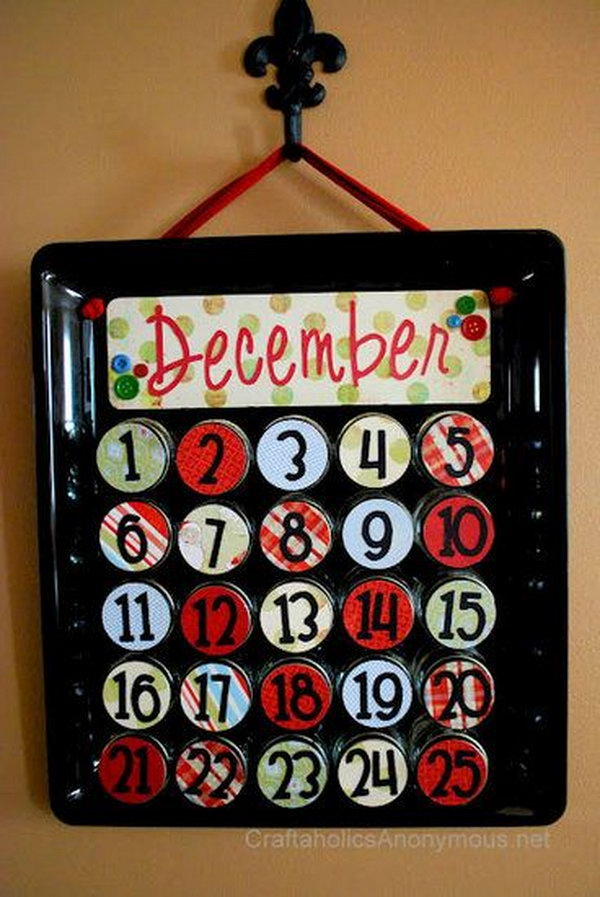 Use mason jars to make a upcycled advent calendar. This advent calendar is a fun, popular way for kids and adults to count down the days until Christmas. Kids would love the surprises hidden behind each day.