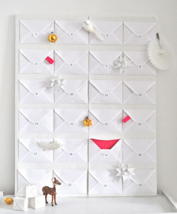 Paper envelope advent. This advent calendar is a fun, popular way for kids and adults to count down the days until Christmas. Kids would love the surprises hidden behind each day.