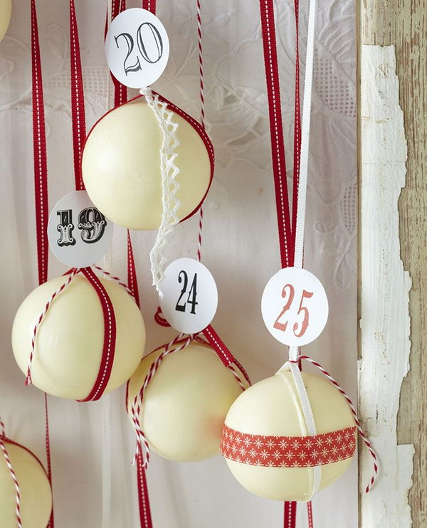 Absolutely delightful chocolate bauble advent calendar. This advent calendar is a fun, popular way for kids and adults to count down the days until Christmas. Kids would love the surprises hidden behind each day.