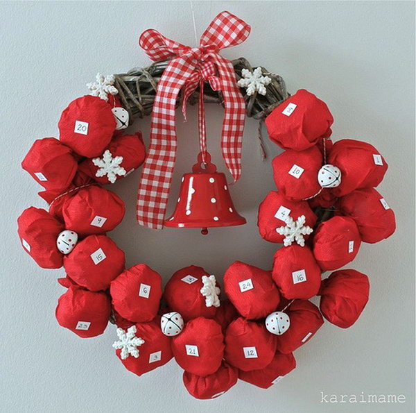 Wreath advent calendar. This advent calendar is a fun, popular way for kids and adults to count down the days until Christmas. Kids would love the surprises hidden behind each day.