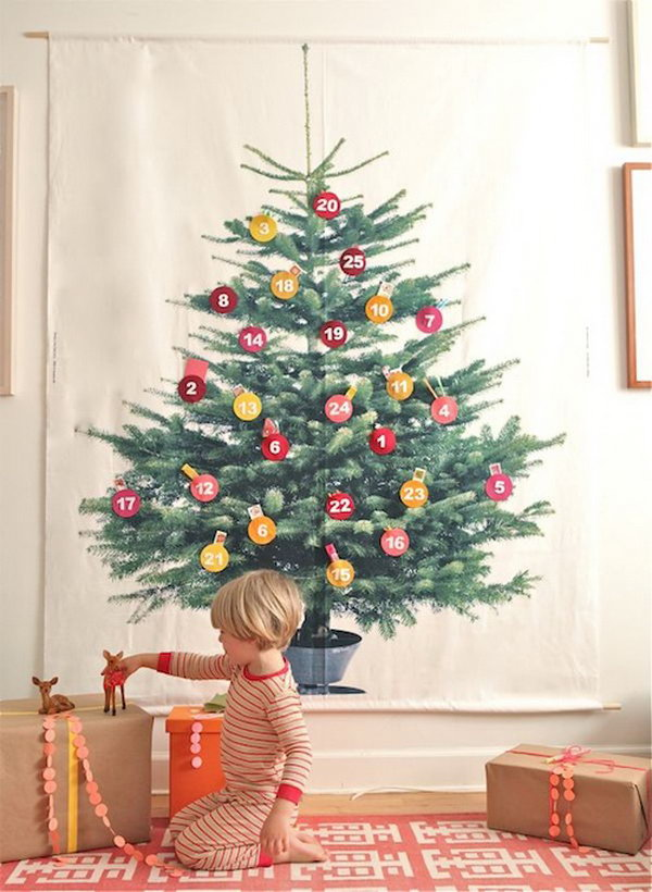 Giant tree advent calendar. This advent calendar is a fun, popular way for kids and adults to count down the days until Christmas. Kids would love the surprises hidden behind each day.