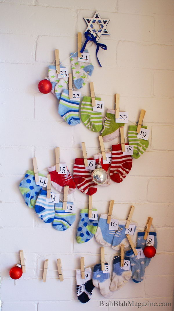 Sock advent calendar. This advent calendar is a fun, popular way for kids and adults to count down the days until Christmas. Kids would love the surprises hidden behind each day.