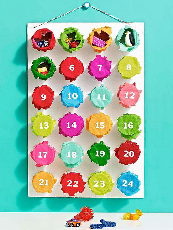 Punchy advent calendar for a christmas countdown. This advent calendar is a fun, popular way for kids and adults to count down the days until Christmas. Kids would love the surprises hidden behind each day.