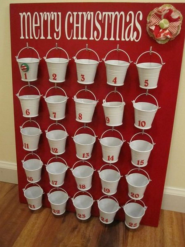 Buckets advent calendar for kids. This advent calendar is a fun, popular way for kids and adults to count down the days until Christmas. Kids would love the surprises hidden behind each day.