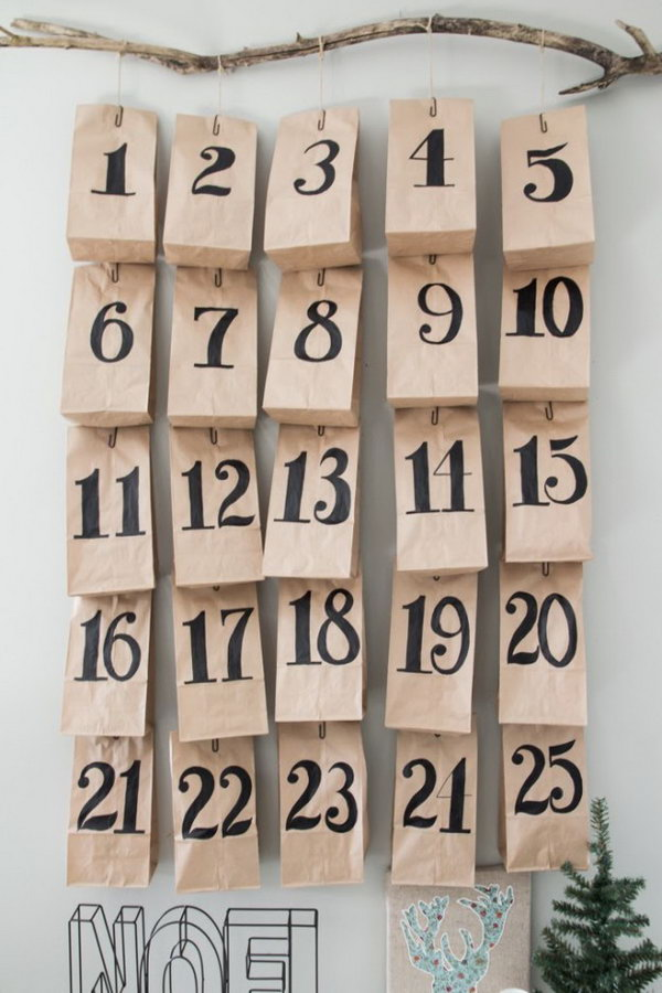 Paper bag advent. This advent calendar is a fun, popular way for kids and adults to count down the days until Christmas. Kids would love the surprises hidden behind each day.