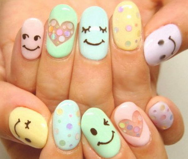 Cute and Happy Smiley Face Nails. What better ways to show your happy personality than smiley face nail art? very easy and the results look fantastic.