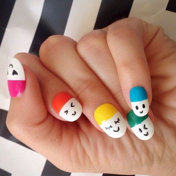 Cute And Happy Smiley Face Nails 2017