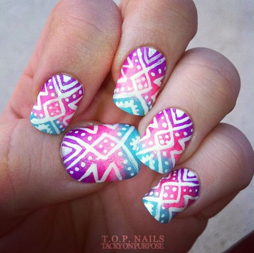 Tropical Tribal Nail Art