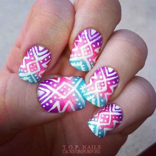 Tropical Tribal Nail Art