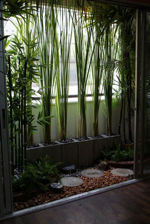 Low maintenance, decorative balcony garden with modern collection of plants, colour, rock and stone.