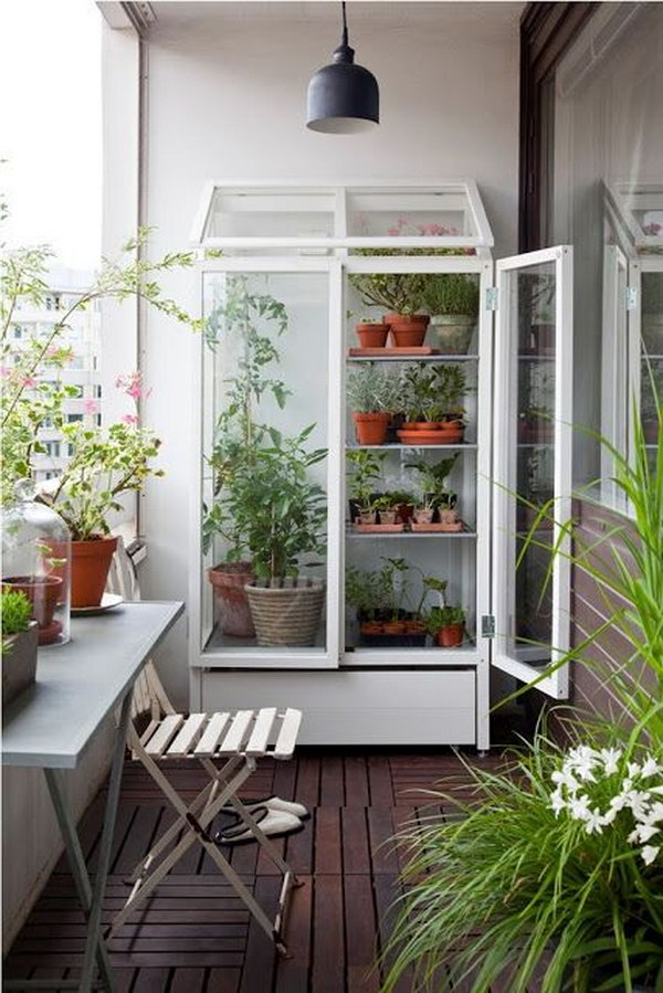 Smart and simple balcony garden with cabinet turned greenhouse.