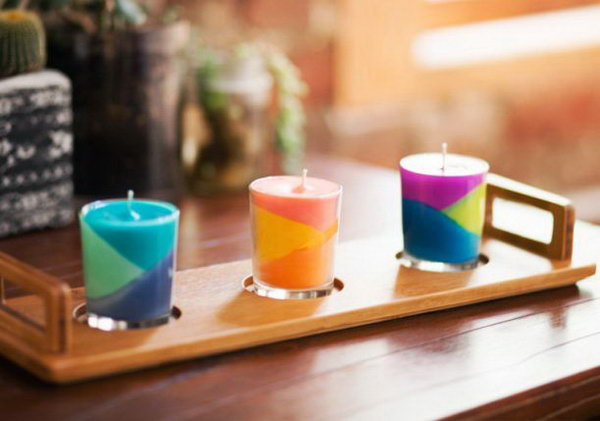 Place these color block candles on your dresser, nightstand, or on your desk. They would also make really fun favors at a colorful wedding.