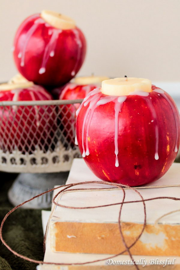 These apple candles adds another use for those apples. You can decorate your dinner table for a harvest party or wedding decoration.