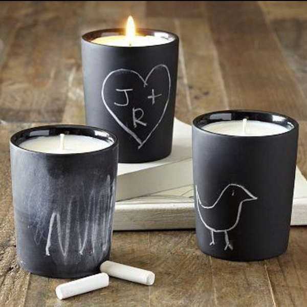 These chalkboard candles are hand painted with chalkboard paint that can be personalized to your heart's desire, from a child's magical message to a passionate note between lovers.