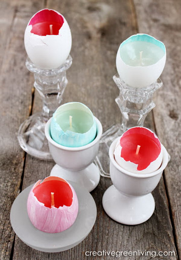 What a great idea to use egg shells as homemade candles. They are great for an Easter centerpiece.