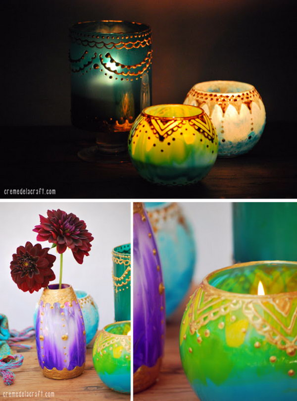DIY Moroccan Candle Holders From Glass Jars And Paint.
