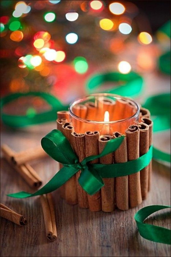 Simply glue your cinnamon stick around the jar being sure to line them up at the bottom. These cinnamon stick candles would be great not just for gifts but for a simple wedding centerpiece as well.