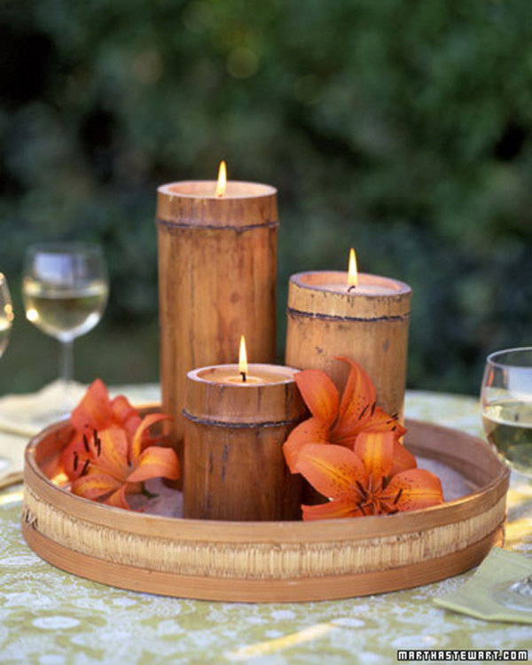 What a pretty way to decorate the table with these bamboo candles when you're entertaining outdoors.