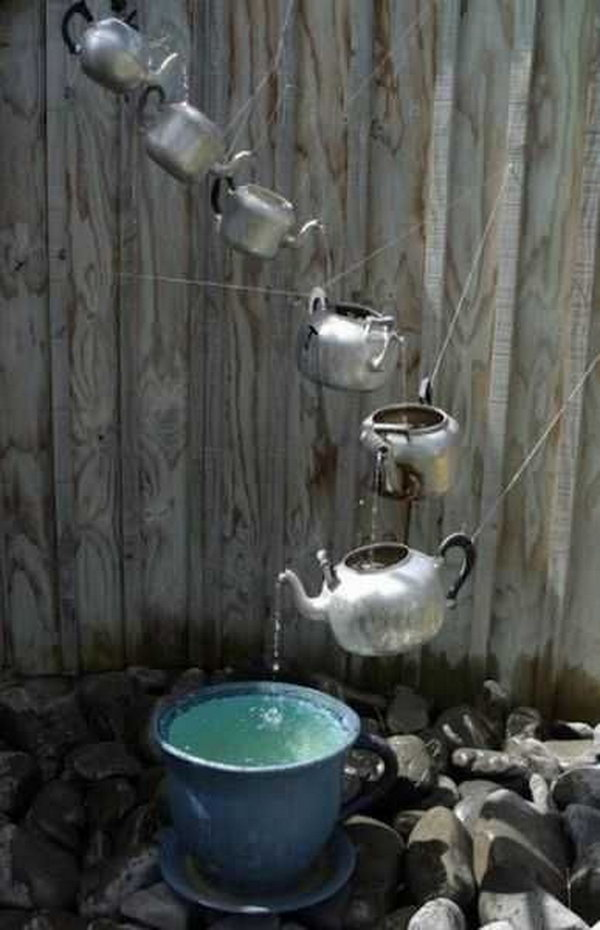 Teapots rain chain. Not only make a good sound and enhance your house exterior appearance, but also divert water away from your house.
