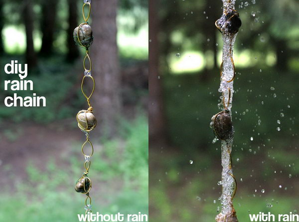 Rain Chain from Wire-Wrapped Rock. Not only make a good sound and enhance your house exterior appearance, but also divert water away from your house.