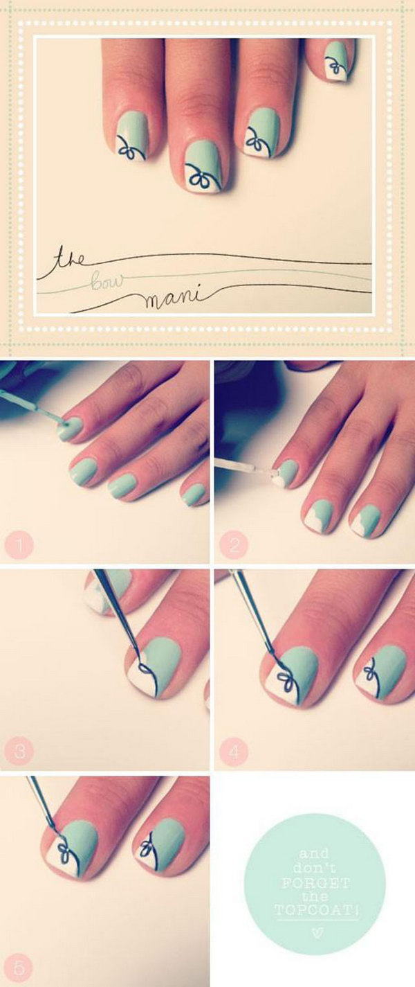 Cute and easy bow manicure.