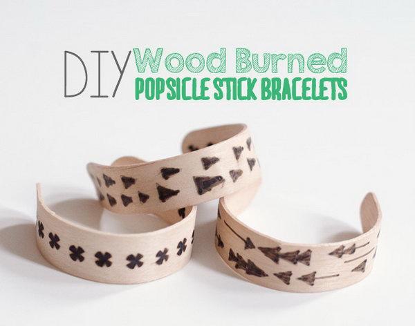 DIY Wood Burned Popsicle Sticks Bracelets,
