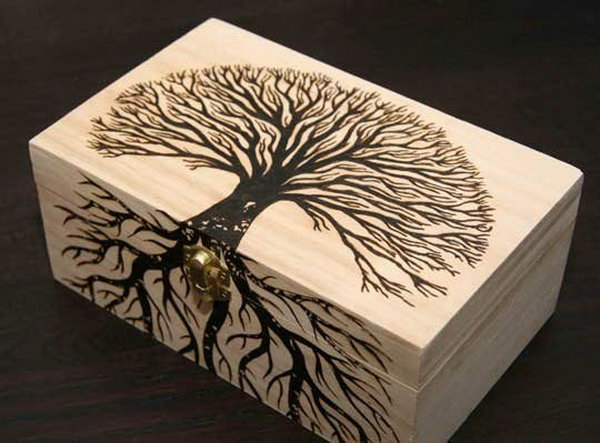 Fabulous woodburned treasure box,