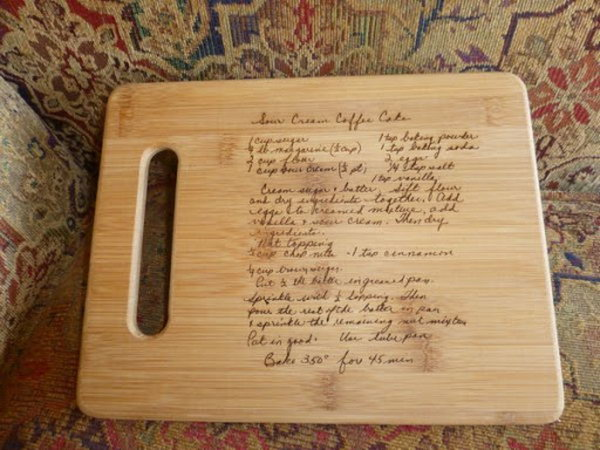 What a wonderful present for family history for this wood burned recipe cutting board.