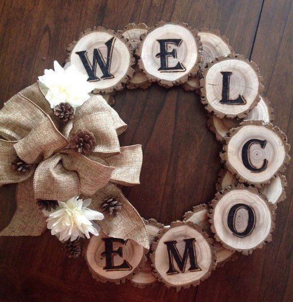 Wood burned WELCOME tree slice wreath,