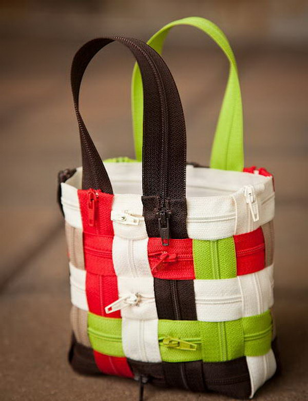 A cute little bag made from zippers,