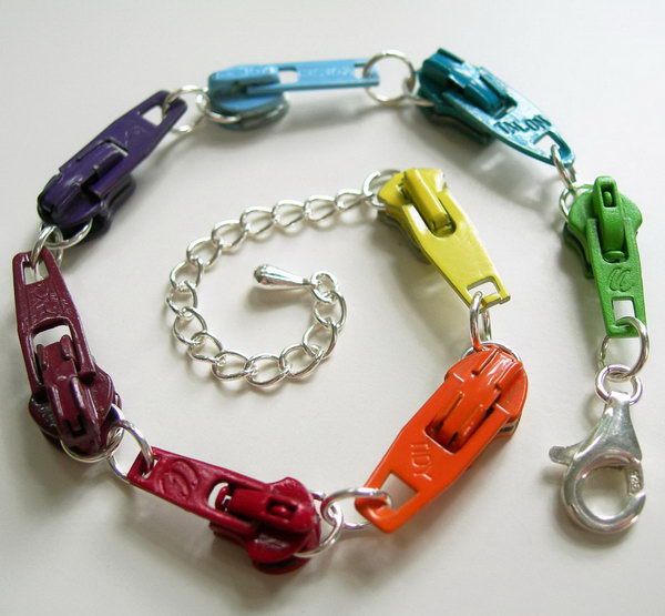 Bracelet made with vintage zipper slides in rainbow colors,