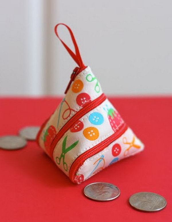 A self-zipping coin purse made from a ribbon,
