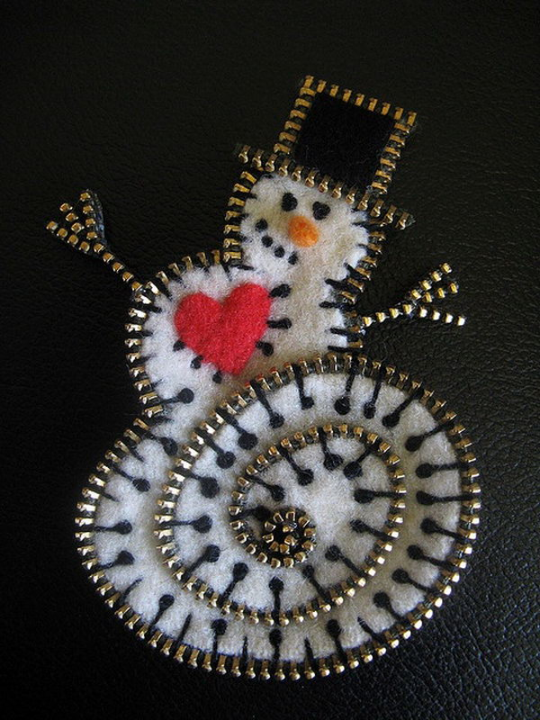 Snowman made out of Zippers and Felt,