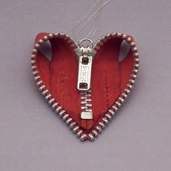 Zipper Heart Ornament,