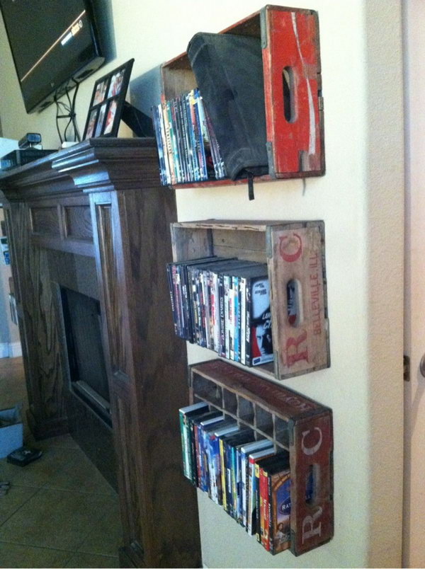 Attache these vintage soda crates to the wall on either side of the fireplace for DVD storage.