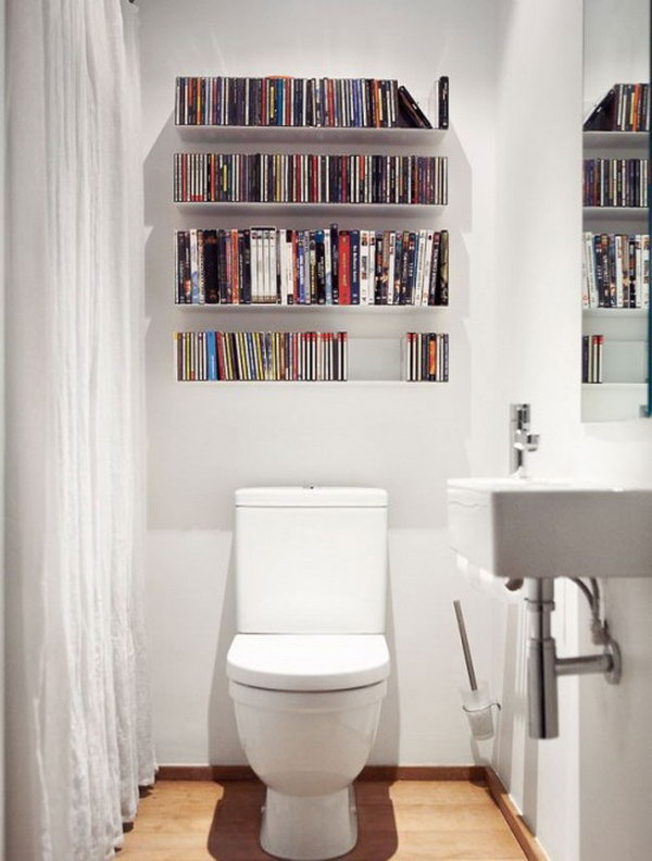 Get your DVDs completely out of your living area by storing them on shelves in the bathroom. Unusual but clever idea.