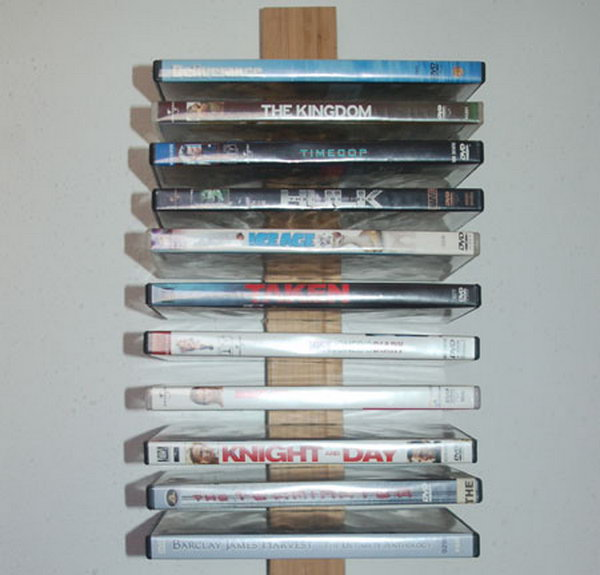 This DVD storage rack on wall is simple to make and won't cost a fortune.