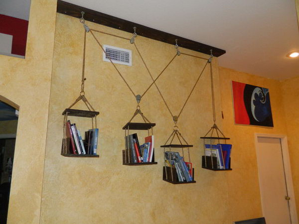 This dynamic hanging shelves can be repositioned at will and respond to the amount of books held on each shelf.