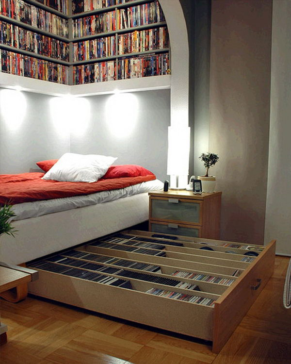 Save your space with these CD storage drawers underneath bed and shelves overhead.
