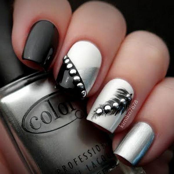 Creative Feather Nail Art Designs 2017