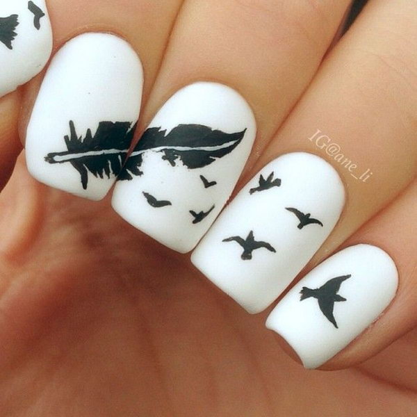 Popular Nail Art Designs: Creative Feather Nail Art Designs 2017