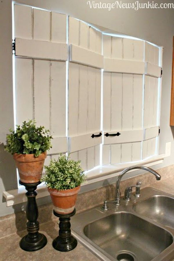 DIY Kitchen Window Shutters,