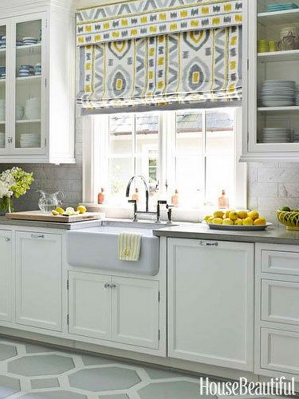 Yellow And Gray Kitchen Window Treatment